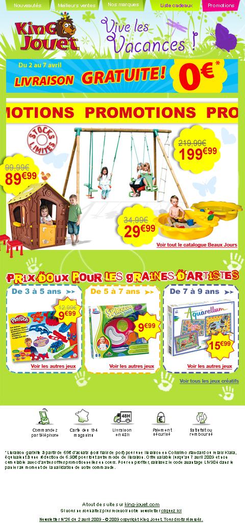 Newsletter King jouet du 2 avril 2009