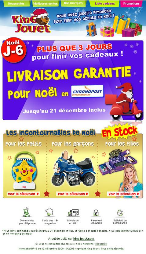 Newsletter King jouet du 19 décembre 2008