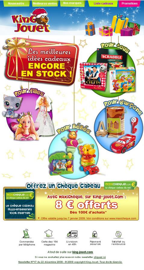 Newsletter King jouet du 22 décembre 2008