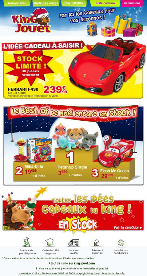 Newsletter King jouet du 26 décembre 2008